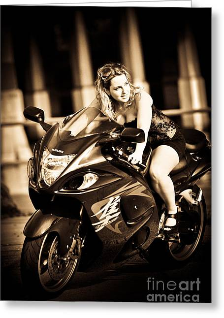 Woman On A Hayabusa Greeting Card by Liesl Marelli