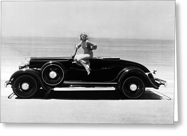 Woman On A Hupmobile Greeting Card by Underwood Archives