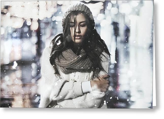 Snowy Evening Greeting Cards - Woman on a rainy day Greeting Card by Jovana Rikalo