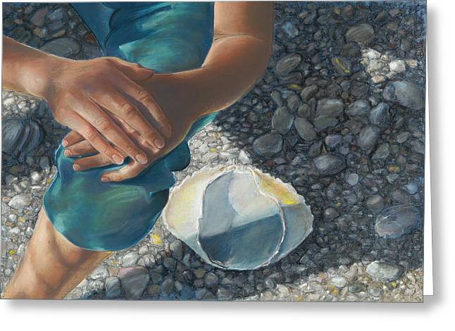 Birdseye Greeting Cards - Woman on a Rocky Beach Greeting Card by Nick Payne