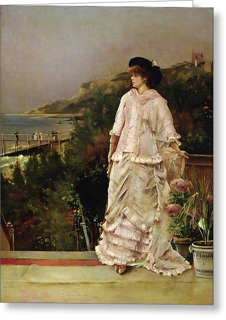 Pink Dress Greeting Cards - Woman On A Terrace, 1882 Oil On Canvas Greeting Card by Alfred Emile Stevens
