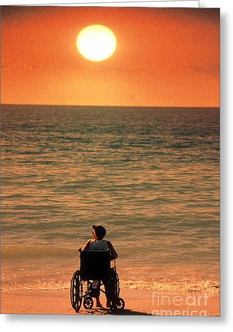 Physically Greeting Cards - Woman On Beach In Wheelchair Greeting Card by Mark Newman