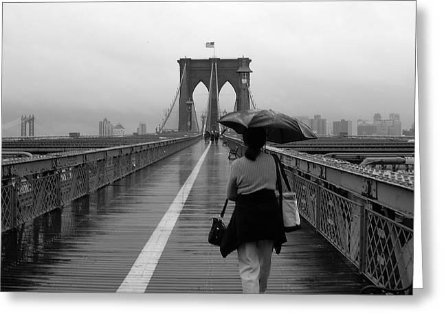 Unbrella Greeting Cards - Woman on Brooklyn Bridge Greeting Card by Victoria Lakes