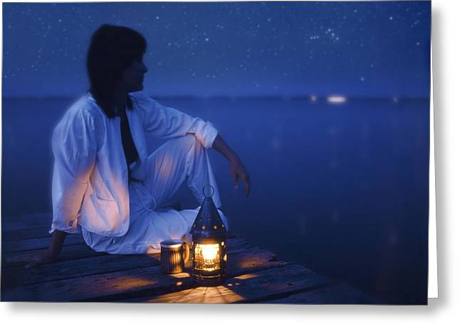Starry Reflections Greeting Cards - Woman On Dock At Night Greeting Card by Bryan Allen