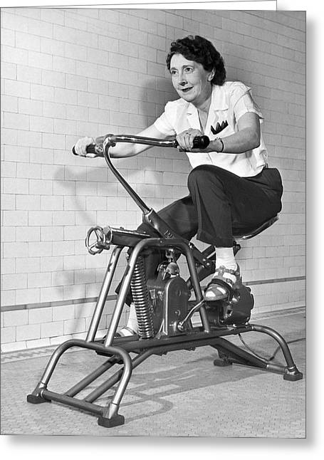 Woman On Exercycle Greeting Card by Underwood Archives