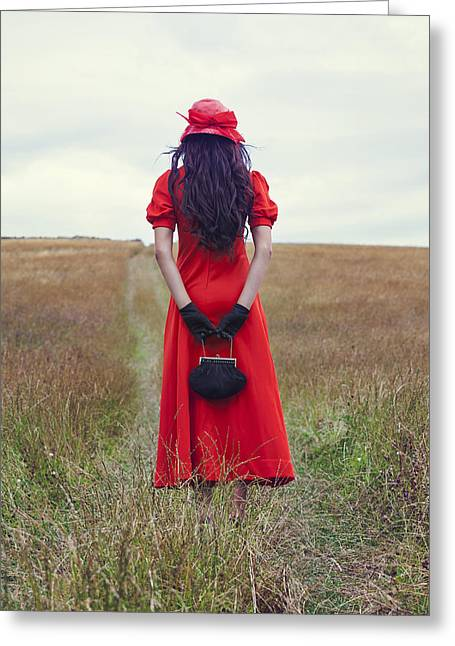 Red Purse Greeting Cards - Woman On Field Greeting Card by Joana Kruse