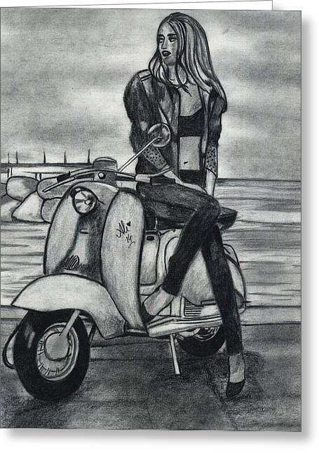 Roadway Drawings Greeting Cards - Woman on Her Scooter Greeting Card by Bobby Dar