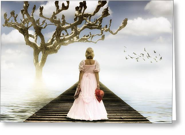 Wedding Garment Greeting Cards - Woman On Pier Greeting Card by Joana Kruse