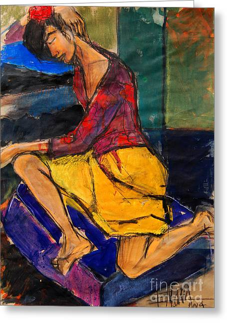 Daydream Greeting Cards - Woman on purple pillow - Pia #3 - figure series Greeting Card by Mona Edulesco