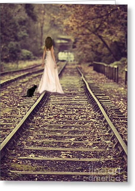 Woman On Railway Line Greeting Card by Amanda And Christopher Elwell