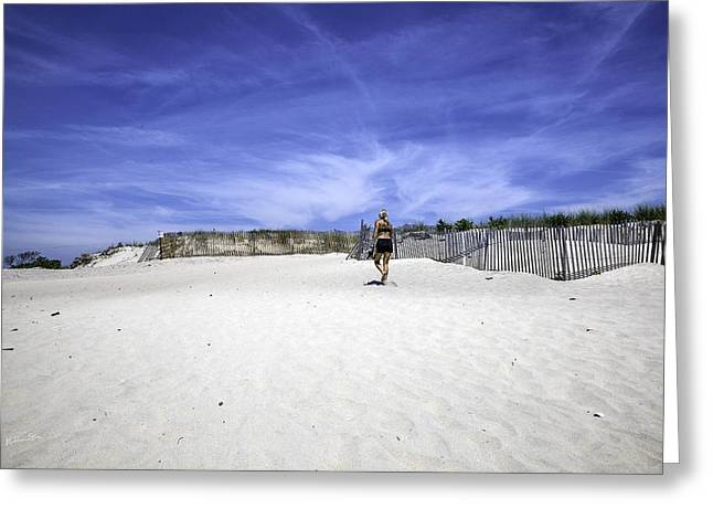 York Beach Greeting Cards - Woman On The Beach Greeting Card by Madeline Ellis