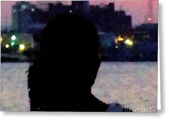 Youthful Greeting Cards - Woman On The Harbor Greeting Card by Alice Kay H