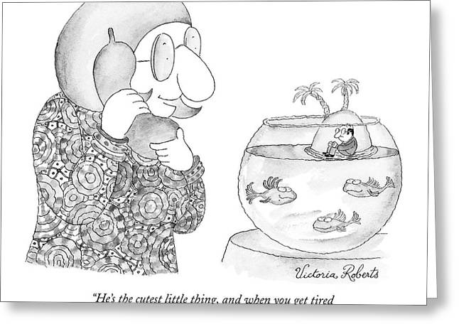 Woman On The Phone Looking At Her Fish Bowl That Greeting Card by Victoria Roberts