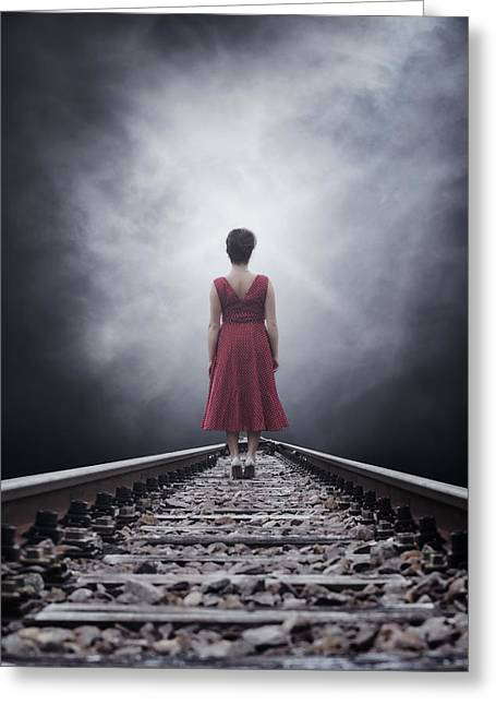 Anonymous Greeting Cards - Woman On Tracks Greeting Card by Joana Kruse