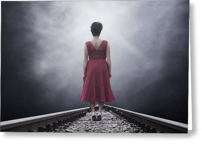 woman on tracks Greeting Card by Joana Kruse