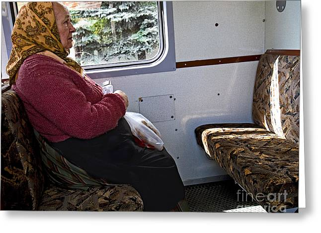 Train Rides Greeting Cards - Woman on Train - Budapest Greeting Card by Madeline Ellis