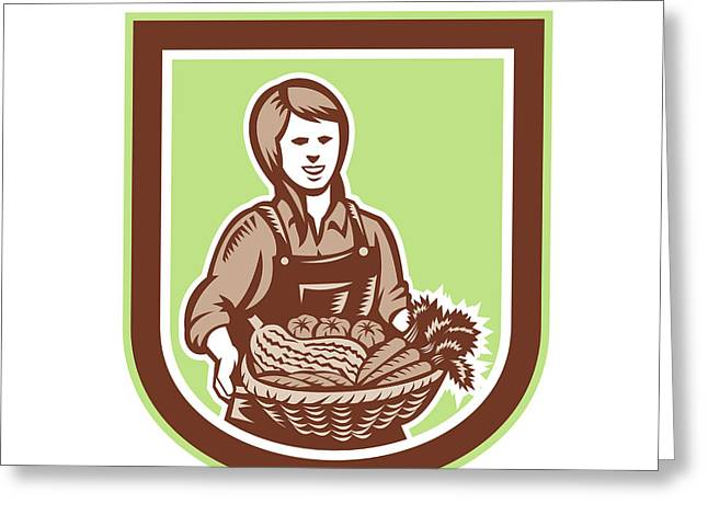 Farmers Field Digital Art Greeting Cards - Woman Organic Farmer Farm Produce Harvest Retro Greeting Card by Aloysius Patrimonio