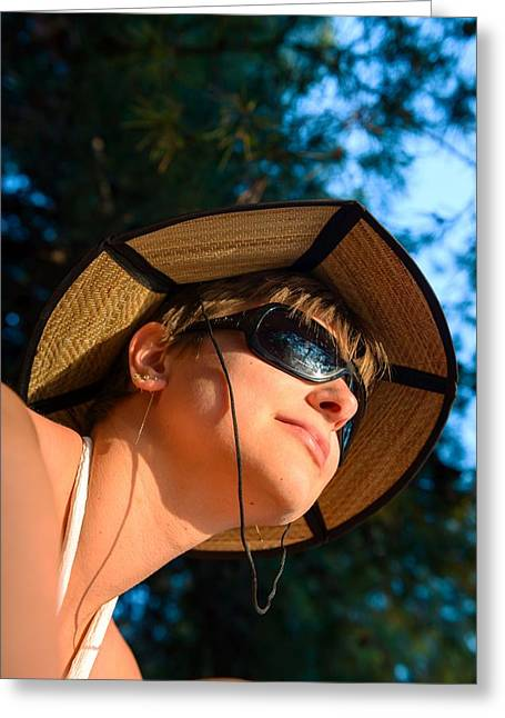 Sunglasses Pyrography Greeting Cards - Woman outdoors with nice hat Greeting Card by Oliver Sved