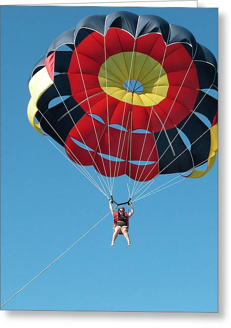 Pull Cord Greeting Cards - Woman Parasailing Greeting Card by Rob Huntley