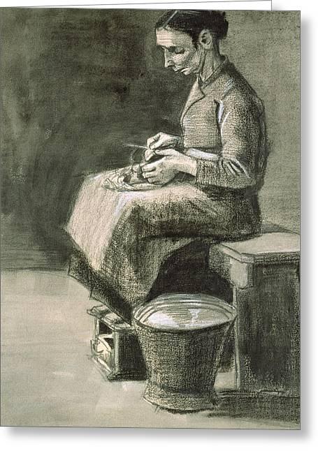 Woman Peeling Potatoes, 1882 Greeting Card by Vincent van Gogh
