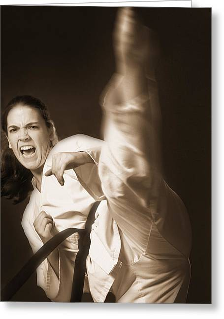 Self Shot Photographs Greeting Cards - Woman Performing Martial Arts Greeting Card by Don Hammond