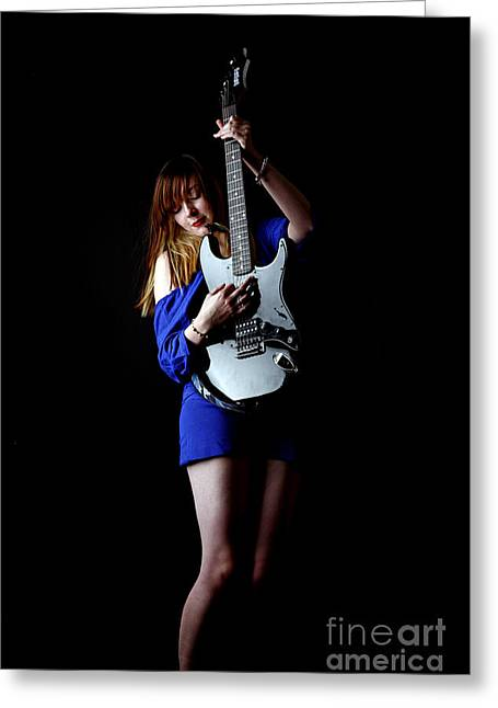 Live Music Greeting Cards - Woman Playing lead Guitar Greeting Card by Craig B