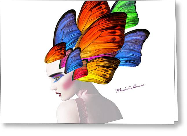 Human Being Greeting Cards - Woman Portrait Butterfly  Greeting Card by Mark Ashkenazi