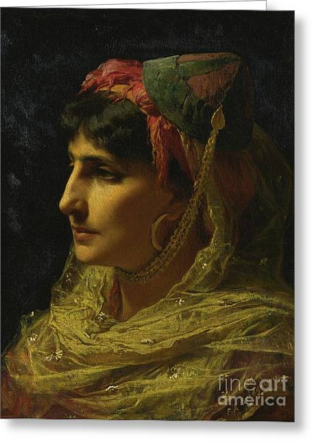 Trimmings Greeting Cards - Woman Portrait Greeting Card by Frederick Arthur Bridgman