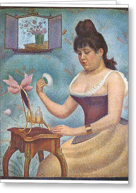 Seurat Greeting Cards - Woman Powdering Herself Greeting Card by Georges Seurat