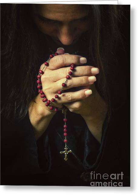 Believers Greeting Cards - Woman Praying Greeting Card by Carlos Caetano