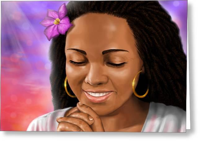 Black Woman Praying Greeting Cards - Woman Praying Greeting Card by Josh Kennedy