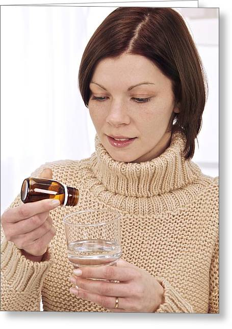 Dilute Greeting Cards - Woman preparing remedy Greeting Card by Science Photo Library