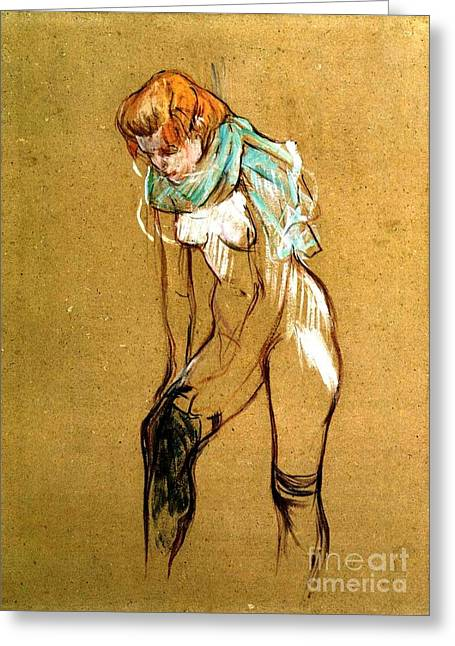 Cardboard Greeting Cards - Woman pulling up her stockings Greeting Card by Pg Reproductions