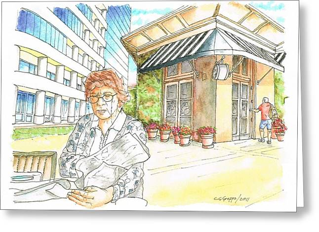 Fornaio Greeting Cards - Woman reading a newspaper in Il Fornaio - Irvine - California Greeting Card by Carlos G Groppa
