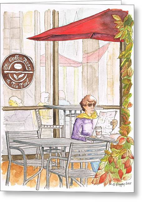 Green Beans Paintings Greeting Cards - Woman reading a newspaper in The Coffee Bean - Riverside-CA Greeting Card by Carlos G Groppa