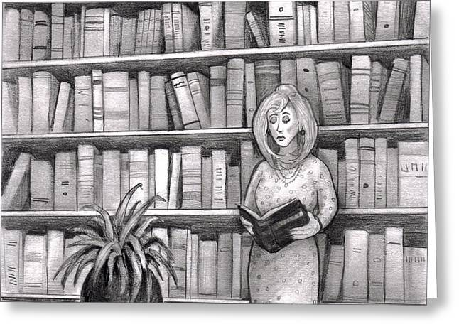 Indoor Drawings Greeting Cards - Woman reading book in library Greeting Card by Lee Serenethos