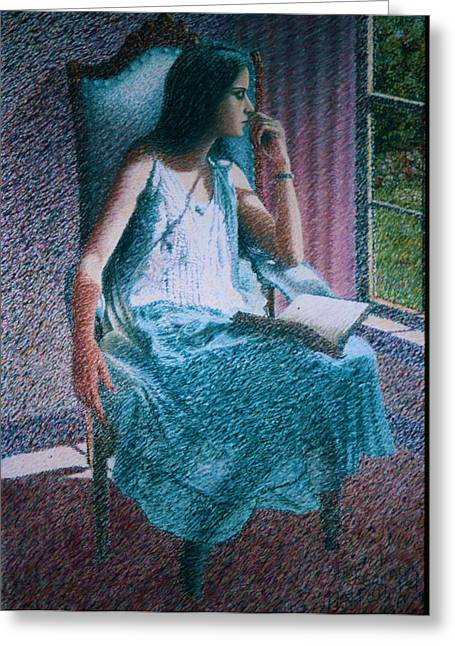 Woman Reading Greeting Card by Herschel Pollard