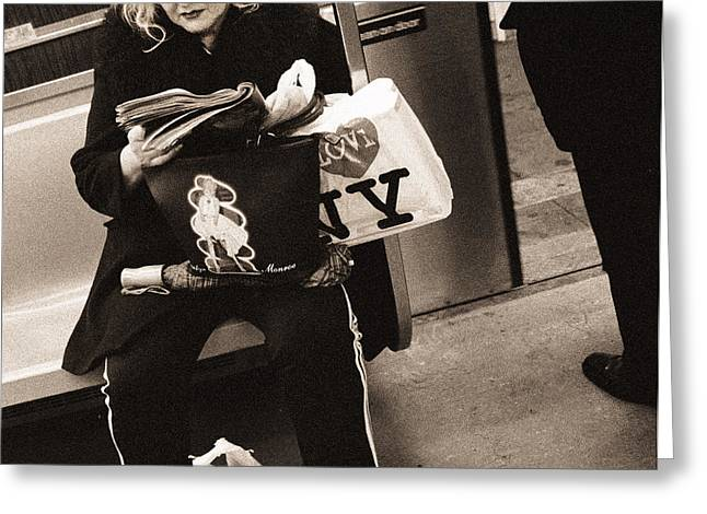 New Yorker Greeting Cards - Woman Reading On A Subway With A Marilyn Monroe Purse And An I Love New York Bag, 2004 Bw Photo Greeting Card by Stephen Spiller