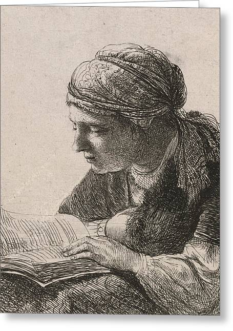 Black Scarf Greeting Cards - Woman Reading Greeting Card by Rembrandt