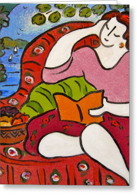 Tiles Ceramics Greeting Cards - Woman Reading with basket of fruit Greeting Card by Carol Keiser