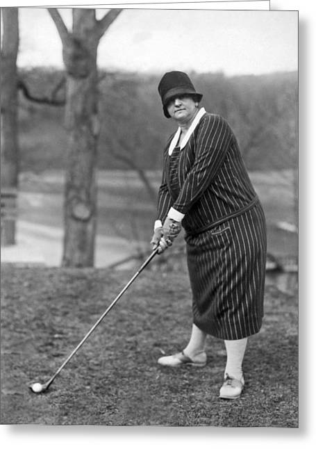 Sulphur Spring Greeting Cards - Woman Ready To Play Golf Greeting Card by Underwood Archives