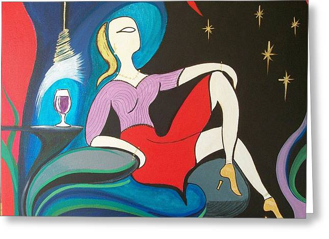 John Lyes Greeting Cards - Woman Reclined in Chair Greeting Card by John Lyes