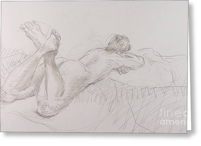 Woman Reclinging Greeting Cards - Woman reclining with crossed feet Greeting Card by Andy Gordon