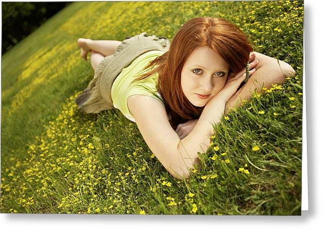 Full-length Portrait Greeting Cards - Woman relaxing on a blooming meadow Greeting Card by Radka Linkova