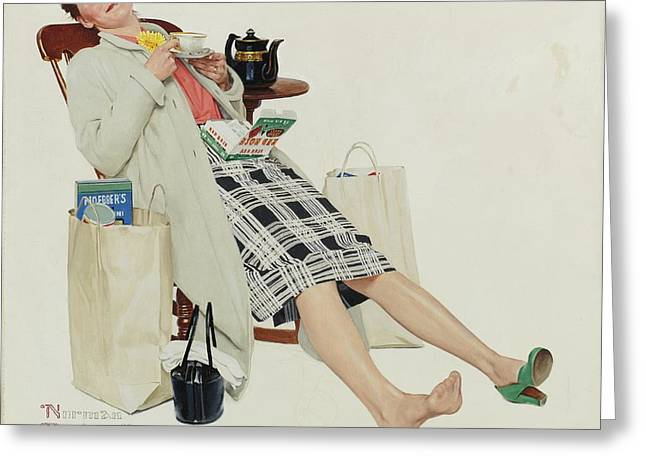 Norman Drawings Greeting Cards - Woman Relaxing with Tea After Shopping by Norman Rockwell Greeting Card by Nomad Art And  Design