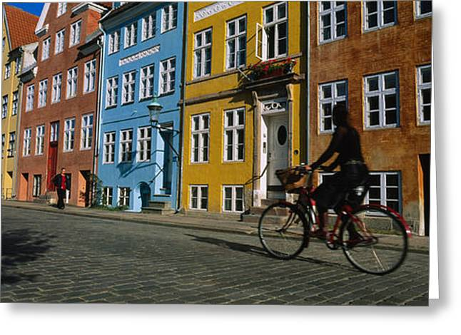 Woman Riding A Bicycle, Copenhagen Greeting Card by Panoramic Images
