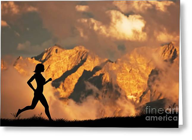 Jogging Greeting Cards - Woman running jogging in the mountains Greeting Card by Michal Bednarek
