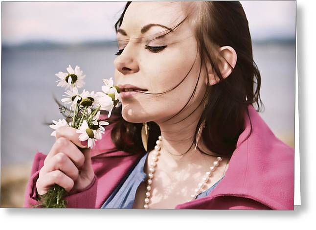 Tender Moment Greeting Cards - Woman scenting Daisies Greeting Card by Craig B