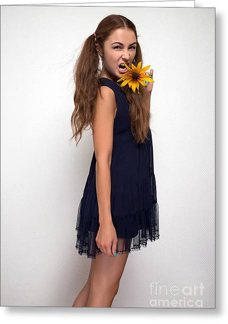 Flower Express Greeting Cards - Woman Screaming With Yellow Flower Greeting Card by Aleksey Tugolukov