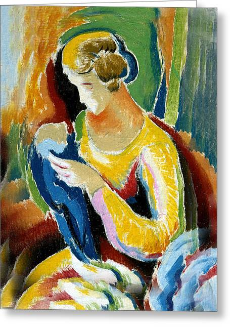 Green And Yellow Abstract Greeting Cards - Woman Seated Holding A Baby Greeting Card by Thomas Benton